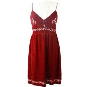 DKNY | Velvet Silk Embroidered V-Neck Dress 12